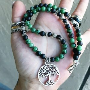 Genuine ruby in zoisite tree of life onyx necklace